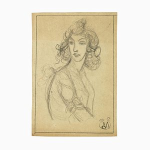 Woman Bust - Pencil on Paper by A. Mérodack-Jeanneau Late 19th Century