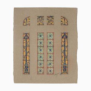 Finestra in vetro colorato - Acquarello su carta di L. Balmet - inizio XX secolo inizio XX secolo