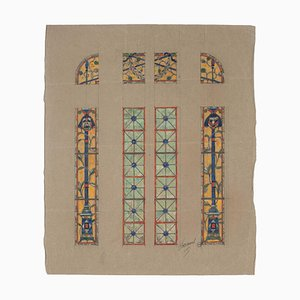 Stained Glass Window - Watercolor on Paper by L. Balmet - Early 20th Century Early 1900