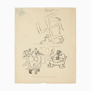 Study of Figures - PenDrawing by E. Hugon - Late 20th Century Late 20th Century