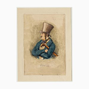Self Portrait - Etching a Watercolor by Bartolomeo Pinelli - 19th Century 19th Century