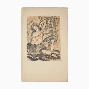 Gypsy - Original Monotype on paper - mid 20th Century Mid 20th Century