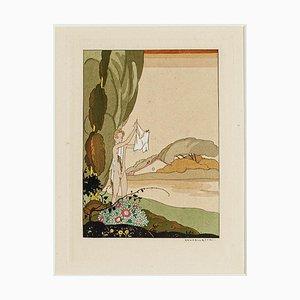Nude in the Landscape - Original Stencil di Umberto Brunelleschi - 1945 1945