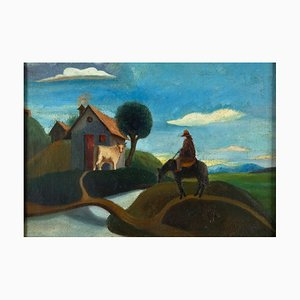 Landscape with Farmer - Oil on Canvas - Early 20th Century Early 20th Century