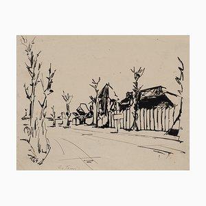 Village - Original Ink Drawing by E. De Tomi - 1947 1947