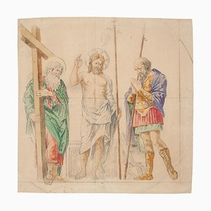 Sacred Scene - Original Ink and Watercolor - 18th Century 18th Century