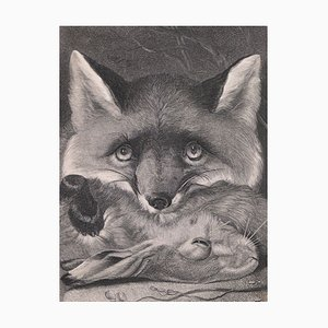 A Fox with its Prey - Original Lithograph - Late 19th Century Late 19th Century