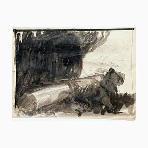 Abstract - Pencil and Watercolor Drawing by G. Galantara - Early 20th Century Early 20th Century