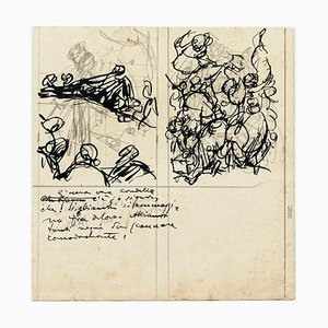 Figures - Ink and Pencil Drawing by G. Galantara - Early 20th Century Early 20th Century