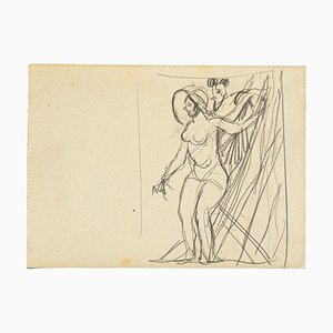 Nude - Pencil Drawing by Gabriele Galantara - Early 20th Century Early 20th Century