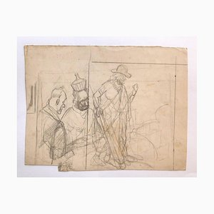 Figures - Pencil Drawing by Gabriele Galantara - Early 20th Century Early 20th Century