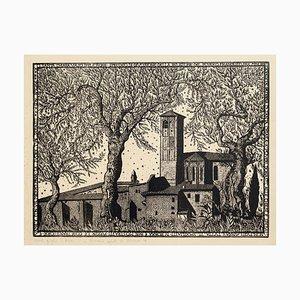 Litografia The Church of Assisi - Litografia originale di Bruno da Osimo - Metà XX Secolo, metà XX secolo