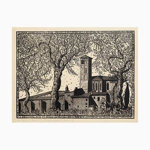 Litografía The Church of Assisi - Original de Bruno da Osimo - Mid-20th Century Mid-Century