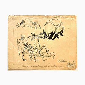 Study of Figures - China Ink Drawing by E. Hugon - Late 20th Century Late 20th Century
