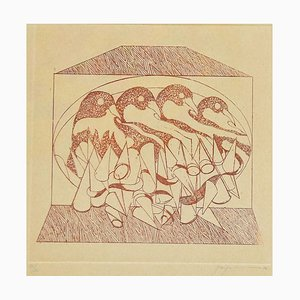 Abstract Composition - Original Radierung von Danilo Bergamo - 1975 1975