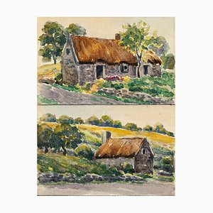 Rural Cottage - Watercolor by French Master - Mid 20th Century Mid 20th Century