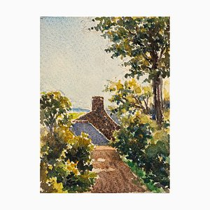Village - Watercolor by French Master - Mid 20th Century Mid 20th Century