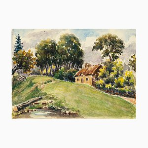 Cottage - Watercolor by French Master - Mid 20th Century Mid 20th Century