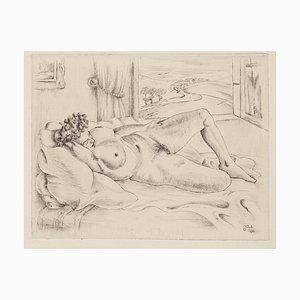 Nude Lying Down - Original Etching - 1945 1945
