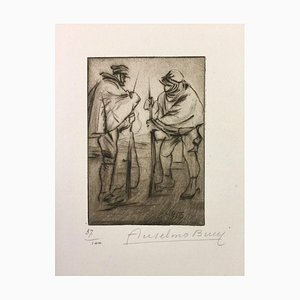 Le Releve - Original Etching by Anselmo Bucci - 1915 1915