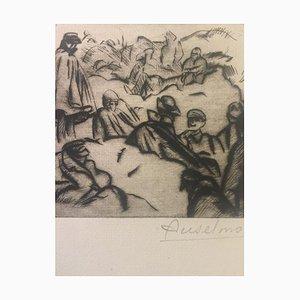 Réveil En Montagne - Original Etching by Anselmo Bucci - 1915 1915