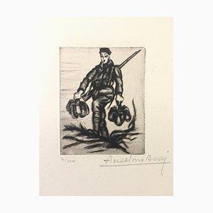 La Couvèe de L'eau - Original Radierung von Anselmo Bucci - 1917 1917