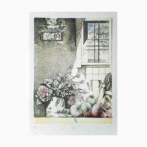 Interno con Sacrocuore - Original Etching by Mario Logli - 1986 1986