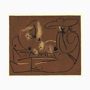 Femme Nue Couchée - Original Linocut After Pablo Picasso - 1962 1962