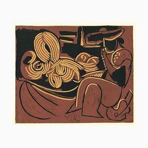 Linogravure d'Origine Couchée et Homme à la Guitare d'Après Pablo Picasso - 1962 1962