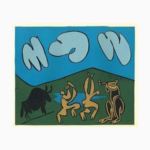 Bacchanale au Taureau Noir - Linocut Reproduction After Pablo Picasso - 1962 1962