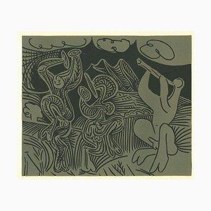 Danseurs et Musicien - Reproduction de Linogravure d'Après Pablo Picasso - 1962 1962