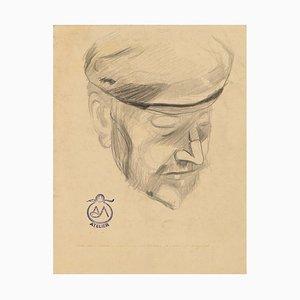 Portrait - Kohlezeichnung auf Papier von A. Mérodack-Jeanneau, spätes 19. Jh