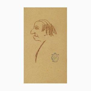 Male Portrait - Oil Pastel on Paper by A. Mérodack-Jeanneau Late 19th Century