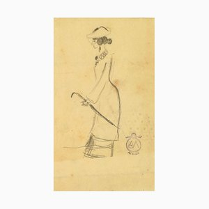 Woman with Umbrella - Charcoal Drawing on Paper by A. Mérodack-Jeanneau Late 19th Century