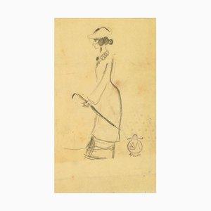 Woman with Umbrella - Charcoal Zeichnung auf Papier von A. Mérodack-Jeanneau Late 19. Jh