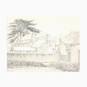 Les Granges de Port Royal - Original Bleistiftzeichnung 1970er 1970er Jahre