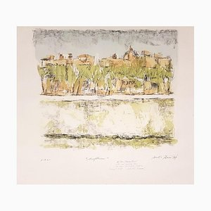 Lungotevere in Rome - Original Lithograph by D. Rossoni - 1969 1969