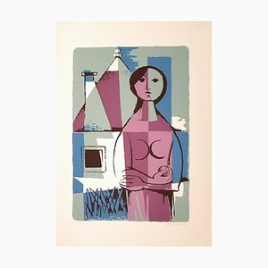 Woman from Apulia with Trullo - Original Lithograph by Pippi Starace - 1960s 1960s