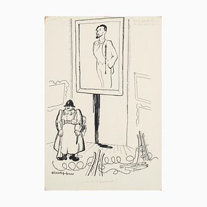 Indipendents - China Ink Drawing by E. Hugon - 1960s 1960s