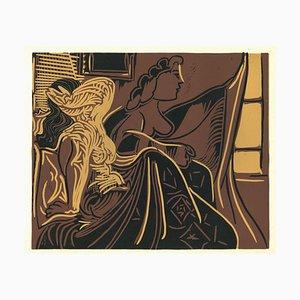 Deux Femmes près de la Fenetre - Linograbado original después de Pablo Picasso - 1962 1962