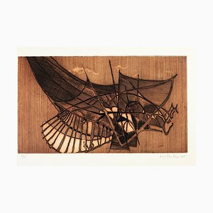 Une Aile - Etching and Aquatint by Louis-René Berge - 1962 1962