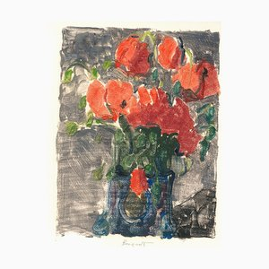 Bouquet - Original Monotype Print by Denise Bonvallet Philippon 1960s