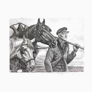 Gravure à l'Eau-Forte originale par Michel Ciry - Paysan avec Chevaux, 1950s