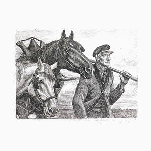 Paysan avec Chevaux - Original Etching by Michel Ciry - Mid 20th Century 1950s