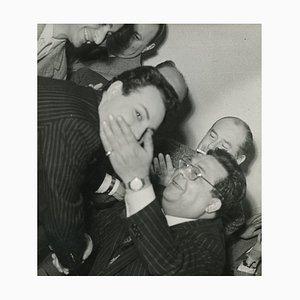 Playful Portrait of Claudio Villa and Aldo Fabrizi - Vintage B/w Photo - 1960s 1960s