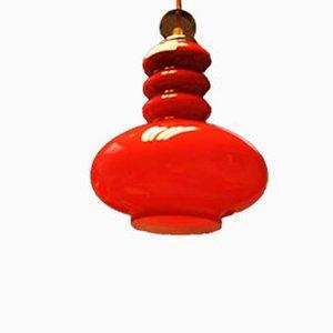 Lampe à Suspension Mid-Century en Verre & Acier