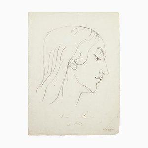 Woman - Original Pencil Drawing - 20th Century 20th Century