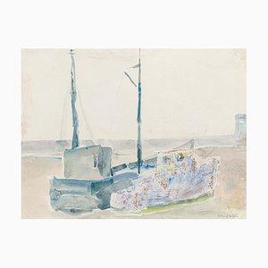 Boot am Strand - Original Aquarell Mitte des 20. Jahrhunderts Mitte des 20. Jahrhunderts