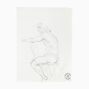 Pensive Man - Original Pencil Drawing by S. Goldberg - Mid 20th Century Mid 20th Century