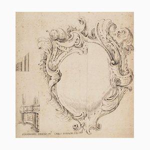 Mirror - Original Etching After F. Bibiena - Late 16th Century 16th Century